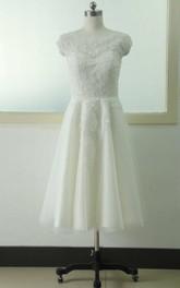 A-Line Knee-Length Cap Beading Flower Zipper Corset Back Chiffon Tulle Lace Sequins Satin Dress