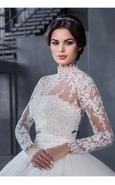 Modern High Neck Lace Appliques 2018 Wedding Dress Ball Gown Long Sleeve