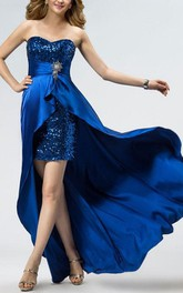 Asymmetry Sweetheart Sequins Sweep Train Prom Dress
