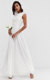 Simple Chiffon and Lace Sheath Jewel-neck Long Bridal Gown