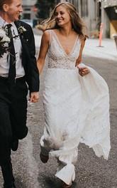 Sexy V-neck Lace Sheath Floor-length Chapel Train Sleeveless Wedding Dress
