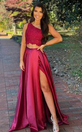 Casual A Line Two Piece One-shoulder Sleeveless Prom Dress With Split Front