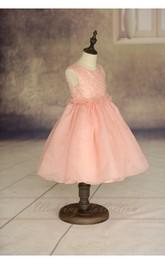 Sequined Scoop Neck Sleeveless Tea Length Organza Dress Floral Waist