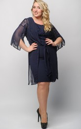 Sheath Knee-Length Scoop 3 Chiffon Pleats Lace Zipper Dress