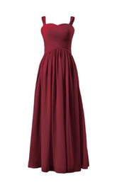 Sleeveless A-line Criss-cross Ruched Chiffon Dress