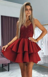 Satin A Line Backless Zipper Sleeveless with Lace and Tiers Homecoming Dress