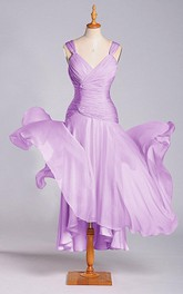 A-line V-neck Tea-length Dropped Chiffon Dress