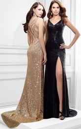 Sleeveless V-Neck Split-Front Sequin Prom Dress With Straps