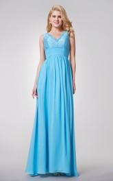 Dreaming Lace Top V-neck A-line Long Chiffon Dress