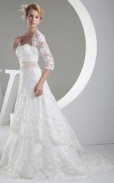 Strapless A-Line Dress With Jacket and Lace Appliques