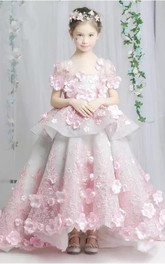 Floral Scoop-Neck Short Sleeve Tier Ball Gown Flower Girl Dress
