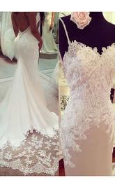 Trumpet Applique Spaghetti Straps Sleeveless Court Train Wedding Dresses