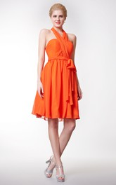 Halter Neck A-line Chiffon Short Dress With Bow