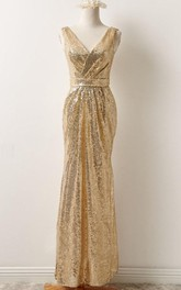 V-Neck Sleeveless Sequins Dress With Draping