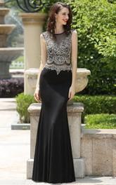 Sheath Floor-Length Bateau Sleeveless Jersey Beading Illusion Dress