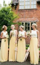Floor-length Sleeveless Chiffon Lace Dress with Scoop Neckline