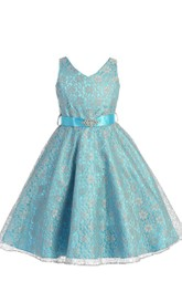 Sleeveless V-neck A-line Dress With Beadings and Bow