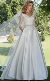 A-Line V-Neck Appliqued 3-4 Sleeve Satin Wedding Dress