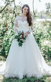 Elegant Ball Gown Bateau Lace Tulle Floor-length Court Train Wedding Dress with Appliques