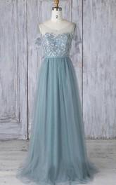 Tulle Floor-length A Line Short Sleeve Simple Formal Dress with Pleats