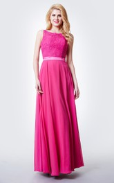 Fairy Sleeveless A-line Chiffon Gown With Open Back