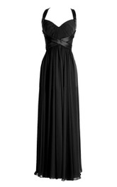 Halter Long Chiffon Gown With Criss-cross Style