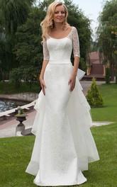 Sheath Scoop Neck Bowed Half Sleeve Lace Wedding Dress