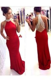 Mermaid Halter Chiffon Lace Backless Dress