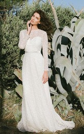 Simple Jewel Neck Long Sleeve Lace Bridal Gown