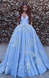 Ball Gown Satin Lace Tulle Off-the-shoulder Short Sleeve Zipper Low-V Back Dress
