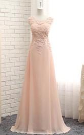 A-line Maxi Beading Appliques Zipper Chiffon Lace Dress