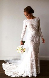 Vintage Long Sleeve 3D-floral Appliques Crystal Mermaid Wedding Dress