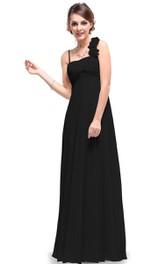 Sleeveless Long Chiffon Dress With Flowers and Pleats