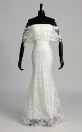 Mermaid Trumpet Vow Renewal Cap Half Sleeve Wedding Dress