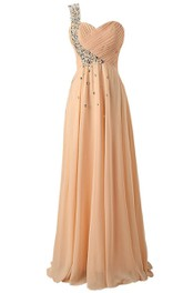One-shoulder Sweetheart Crystal-beaded A-line Gown With Lace-up Back