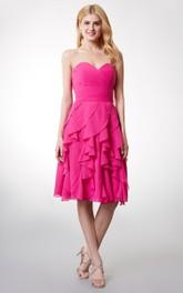 Sleeveless Ruffled Short Chiffon Dress With Ruching