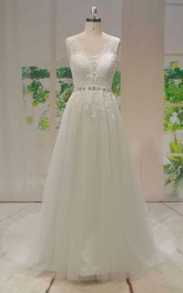 A-line Sleeveless Lace Tulle Wedding Dress With Beaded Sash And V-back With Buttons