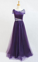Short-sleeved A-line Scoop Neck Gown with Sequins