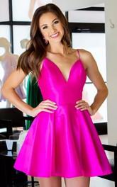 Satin Short V-neck A Line Sleeveless Modern Homecoming Dress