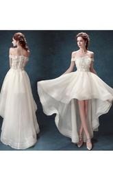 A-Line Organza Lace Off-the-shoulder Short Sleeve Open Back Dress