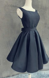 Mini A-line Satin Dress With Open Back