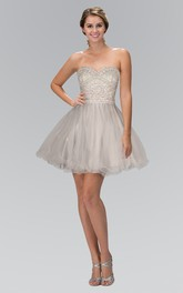 A-Line Short Sweetheart Sleeveless Tulle Dress With Beading And Ruffles