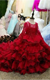 Ball Gown Scoop Long Sleeve Flower Girl Dress with Ruffle and Beading