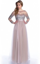 Bateau Neck Long Sleeve A-Line Tulle Prom Dress With Sequined Bodice