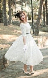 Jewel Tea-Length Lace Wedding Dress With Sash And Half Illusion Sleeve
