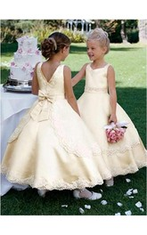 Ball Gown Scoop Sleeveless Bowknot Ankle-length Satin Flower Girl Dresses