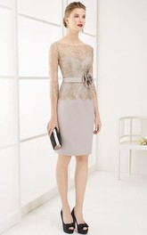 Pencil Half-Sleeve Scoop-Neck Midi Floral Satin&Lace Prom Dress With Ribbon