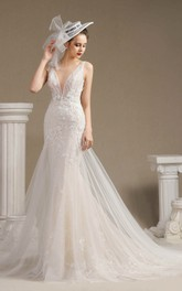 Illusion Plunging Mermaid Sleeveless Lace Open Back Wedding Dress With Appliques And Chapel Train