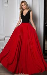 V-Neck Long Sleeveless Pleated Chiffon Prom Dress