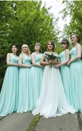 Sweetheart A-line Floor-length Sleeveless Chiffon Bridesmaid Dress with Zipper Back